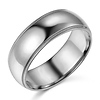 7mm Classic Light Dome Milgrain Men's Wedding Band - 14K White Gold