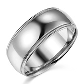 8mm Classic Light Dome Milgrain Men's Wedding Band - 14K White Gold