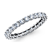 2.7mm Round Cubic Zirconia Eternity Ring Wedding Band in 14K White Gold