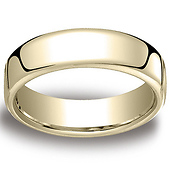 6.5mm Euro Comfort-Fit Flat Classic Wedding Band - 14K, 18K Yellow Gold