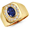 14K Yellow Gold Halo Blue Oval CZ Men's Ring