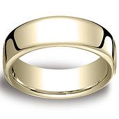 7.5mm Euro Comfort-Fit Flat Classic Men's Wedding Band - 14K, 18K Yellow Gold