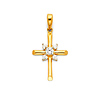 Small CZ Rod Cross Pendant with Beveled Tips in 14K Yellow Gold