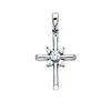 Small CZ Rod Cross Pendant with Beveled Tips in 14K White Gold