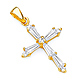 Petite Tapered Baguette CZ Cross Pendant in 14K Yellow Gold thumb 0