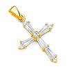 Petite Tapered Baguette CZ Cross Pendant in 14K Yellow Gold