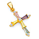 Small Multicolored Baguette CZ Cross Pendant in 14K Yellow Gold thumb 0