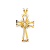Diamond-Cut Open Small Cross Pendant in 14K Yellow Gold
