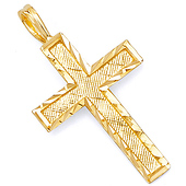 Diamond-Cut Textured Small Cross Pendant in 14K Yellow Gold