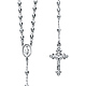 5mm Moon-Cut Bead Miraculous Medal Rosary Necklace in Sterling Silver with Budded Crucifix 26in thumb 0