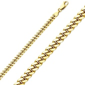 3.3mm 18K Yellow Gold Miami Cuban Link Chain Necklace 22-30in