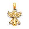 Petite Diamond-Cut Filigree Angel Pendant in 14K Two-Tone Gold