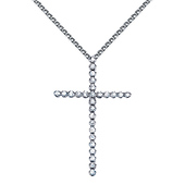 Slender Medium Round-Cut Diamond Cross Necklace in 14K White Gold 0.36ctw