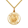 St Jude Thaddeus Petite Medal Necklace with Spiga Chain - 14K Yellow Gold 16-22in