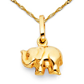 Mini Junior Elephant Charm Necklace with Singapore Chain - 14K Yellow Gold 16-22in