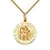 Small St. Christopher Medal Necklace with Braided Wheat Chain - 14K Yellow Gold (16-22in)