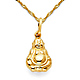 Laughing God Hotei Buddha Necklace Singapore Chain - 14K Yellow Gold (16-22in) thumb 0