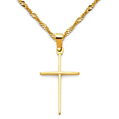 Slender Small Cross Necklace with Singapore Chain - 14K Yellow Gold (16-22in)