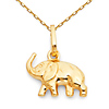 Mini Trumpeting Elephant Charm Necklace with Cable Chain - 14K Yellow Gold 16-20in