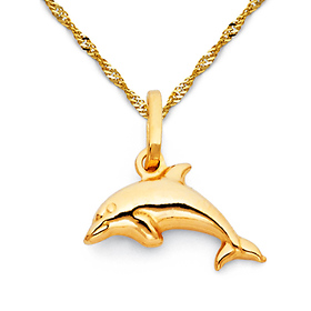 Mini Jumping Dolphin Necklace with Singapore Chain - 14K Yellow Gold 16-22in