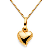 Mini Whimsical Heart Charm Necklace with Box Chain - 14K Yellow Gold (16-22in)