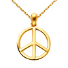 Peace Sign Charm Necklace with Oval Cable Chain - 14K Yellow Gold 16-22in