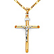 Large Rod Crucifix Necklace with Figaro Chain - 14K Two-Tone Gold 16-24in thumb 0