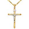 Large Rod Crucifix Necklace with Figaro Chain - 14K Two-Tone Gold 16-24in