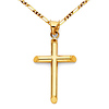 Small Slanted-Edge Cross Necklace with Figaro Chain - 14K Yellow Gold (16-24in)