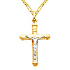 Small Tube Crucifix Necklace with Figaro Chain - 14K Two-Tone Gold (16-24in)