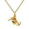 Faith Hope Charity Charm Necklace with Oval Cable Chain - 14K Yellow Gold 16-20in