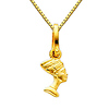 Egyptian Queen Nefertiti Charm Necklace with Box Chain - 14K Yellow Gold (16-22in)