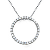 CZ Karma Eternity Circle Necklace with Anchor Chain - 14K White Gold 16-22in