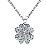CZ Four-Leaf Clover Charm Necklace with Spiga Chain - 14K White Gold (16-22in)