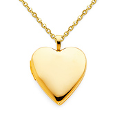 Classic Heart Locket Necklace with Cable Chain - 14K Yellow Gold (16-22in)