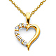 CZ Open Journey Heart Pendant Necklace with Cable Chain - 14K Yellow Gold 16-22in thumb 0
