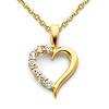 CZ Open Journey Heart Pendant Necklace with Cable Chain - 14K Yellow Gold 16-22in