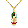 Green White Red Soccer Shoe Charm Necklace with Spiga Chain - 14K Yellow Gold 16-22in