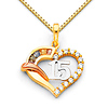 CZ Quinceanera 15 Anos Open Heart Charm Necklace with Box Chain - 14K Tricolor Gold 16-24in
