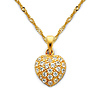 CZ Cluster Petite Heart Charm Necklace with Singapore Chain - 14K Yellow Gold 16-22in