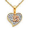 Quinceanera 15 Anos CZ Heart Charm Necklace with Cable Chain - 14K Tricolor Gold 16-22in
