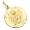 St. Jude Thaddeus Round Medal Pendant in 14K Yellow Gold - Petite