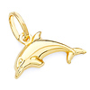 Jumping Dolphin Charm Pendant in 14K Yellow Gold - Mini