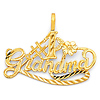 Whimsical #1 Grandma Pendant in 14K Yellow Gold - Petite