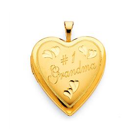 e87c1004d Engraved #1 Grandma Heart Locket in 14K Yellow Gold - Small   GoldenMine.com