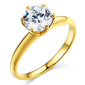 Knife-Edge 6-Prong 1-CT Round-Cut CZ Engagement Ring Solitaire in 14K Yellow Gold