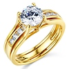 Split Shank 1-CT Round-Cut Solitaire CZ Wedding Ring Set in 14K Yellow Gold