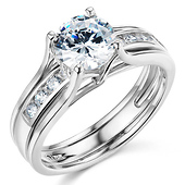 Split Shank 1-CT Round-Cut Solitaire CZ Wedding Ring Set in 14K White Gold