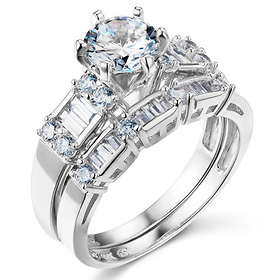 1.25 CT Round-Cut & Baguette CZ Wedding Ring Set in 14K White Gold 2ctw