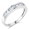 8-Stone Princess-Cut Channel-Set CZ Wedding Band in 14K White Gold 0.75ctw